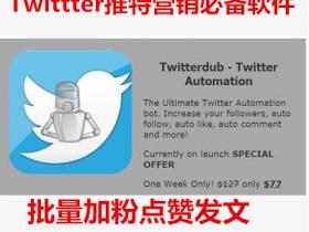 Twitterdub 最新版 推特Twitter营销软件 加粉点赞批量发文 包升级