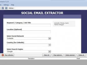 Social Email Extractor 社交电子邮件批量提取器 支持Facebook linkedin instagram和twitter