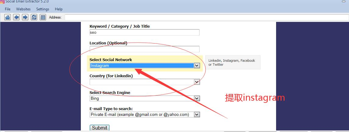 Social Email Extractor 社交电子邮件批量提取器 支持Facebook linkedin instagram和twitter
